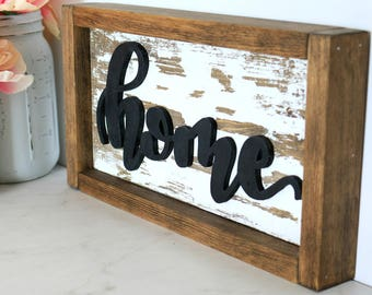 Rustic Home 3D Cutout Wood Sign 12X7 - Framed Wood Sign - Rustic Farmhouse Sign -