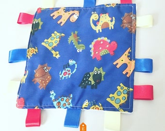 Baby tag blanket, baby comforter, boys blanket,  ribbon blanket, sensory play, baby boy gift, baby shower gift