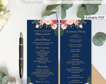 Wedding Program Template, Navy Ceremony Program Printable, Wedding Program Printable, #A011, Editable PDF - you personalize at home.