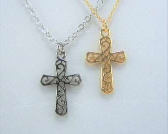 N369, Cross, Scroll, Necklace
