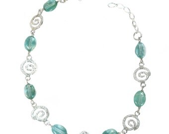 Apatite and silver swirls bracelet