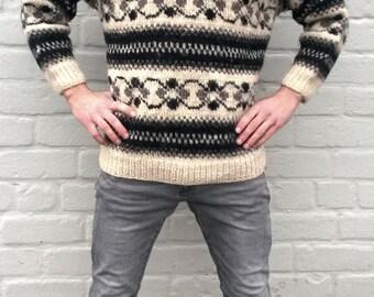 Wool sweater, Nepal sweater,  pullover, men's sweater, wool jumper, winter sweater, oversized women sweater, highlanders sweater, L/M (TW24)