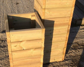 Tall Large Decking Wooden Square Garden Planters - 0.77m / 1.01m High Wood Box