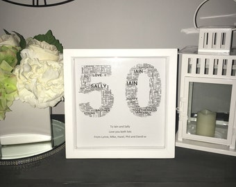 EmsiLou NUMBER Typography Box Frame (personalised)
