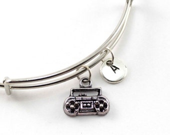 TAPE PLAYER bangle, silver tape player bracelet, musician charm, initial bracelet, adjustable bangle, personalized jewelry, birthstone, gift
