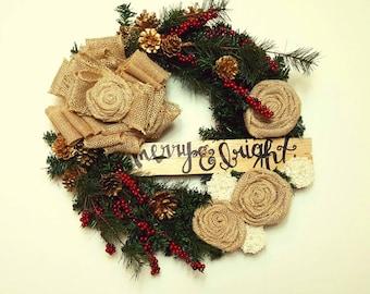 Holiday Burlap Wreath, Christmas Wreath, Holiday Wreath, Front Door Wreath, Evergreen Wreath, Personalized Wreath, Front Door Decor