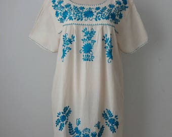 Hand Embroidered Short Dress, Floral Embroidered Mexican Dress, Oaxacan Short Dress