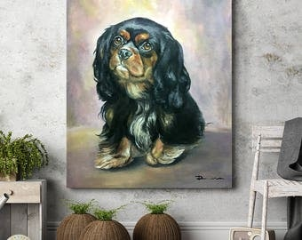Custom dog portrait oil commission original painting  custom pet oil portrait on canvas wall art gift idea pet portrait from Romalena
