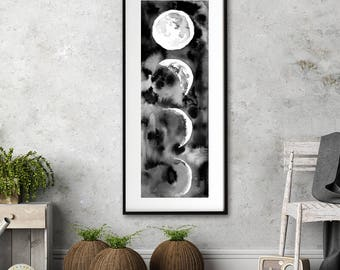 Watercolor moon painting black and white abstract modern painting living room wall art home decor original painting nursery kitchen print