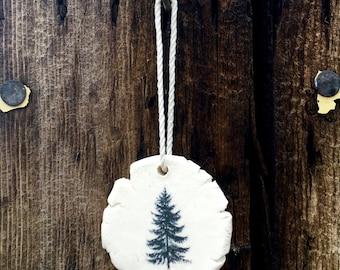 Unique Evergreen Tree Christmas Ornaments Handmade,  Artisan Christmas Ornaments, Handmade Christmas Ornaments, White Ceramic Ornaments