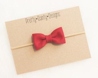 Felt Bow on Nylon Headband/Clip/Red/Baby