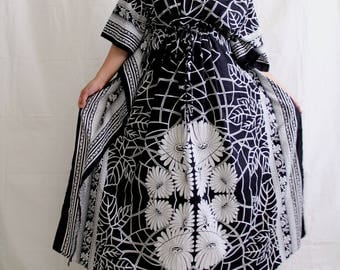 Caftan Maxi Dress, Black kaftan, Cotton Kaftan, Indian Dress, changing robe, night gown, lounge wear, bathrobe, evening dress (Blk Aster)