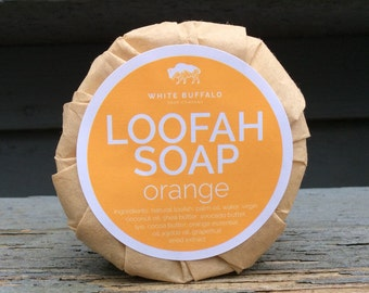 Loofah Soap Orange - Foot Soap, Exfoliating Soap, Vegan Soap, All Natural Soap, Handmade Soap, Essential Oil Soap, Cold Process Soap