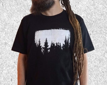 Mens Trees Tshirt - Nature T shirt - Graphic Tee - Black Printed T shirt - Forest Tshirt - screen print t shirt - S / M / L / XL