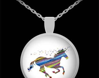 Unicorn Necklace - Pendant - Unicorn Jewelry - Abstract Artistic Unicorn - Best Gift for Unicorn Lovers! 22 in Chain - Mother's Day Gift