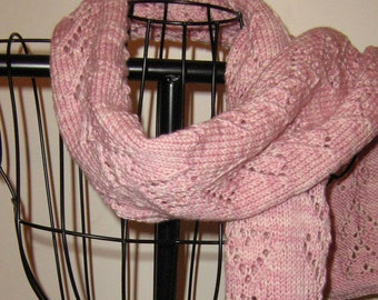 "Carnation Pink ""Chain of Hearts"" extra long hand knit scart"