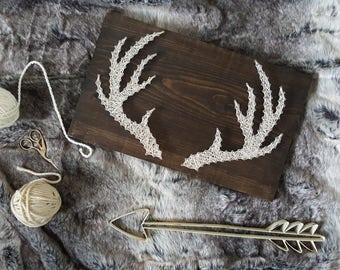 String Art - Antler Decor - Deer Decor - Nursery Decor - Woodland Nursery Decor - Gift for Hunters  - House Warming Gift - Man Cave