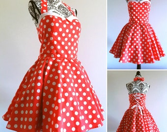 Pin up dress - rockabilly dress polka dots red & white sweetheart neckline- swing dress - sizes XS to 5XL