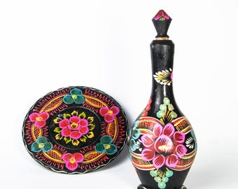USSR Folk Art bottle,  soviet hand painted bottle, Vintage wooden vase, Vintage Decorative Bottle,  Soviet Era Bottle, Khokhloma bottle