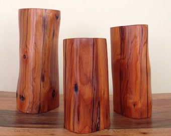 Set of 3 Rustic Buckthorn Pillars