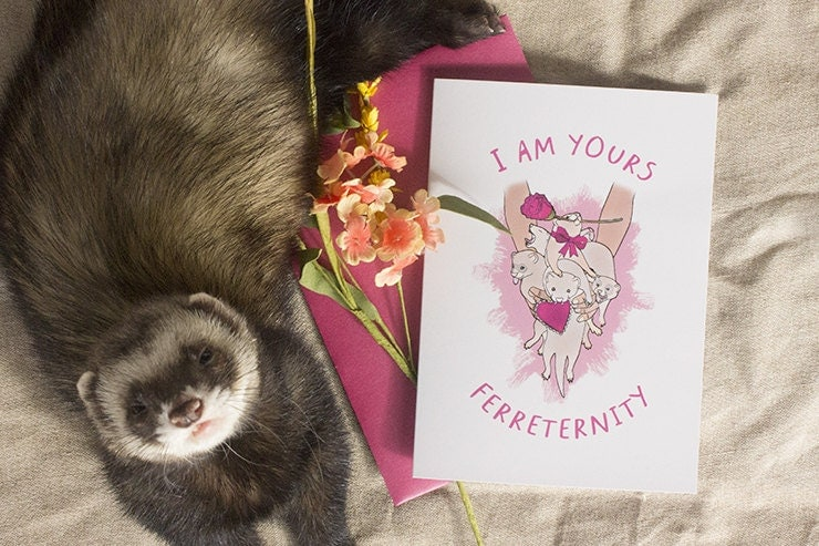 IM YOURS FERRETERNITY Valentines Day Card funny ferret – Ferret Birthday Card