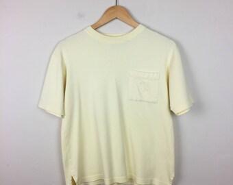 80s Pastel Yellow Tee Size XS, Pocket T Shirt, Pastel T Shirt