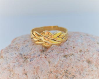 Vintage 14K Gold Puzzle Ring, Unique Wedding Ring, Size 6, 4 Band Puzzle Ring, Womens Gold Ring, Turkish Promise Ring, SweetVintageTX