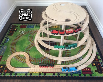 Mountain Spiral Railway.  The ultimate train track accessory for wooden Thomas the Train and Brio sets.  Made of natural wood.