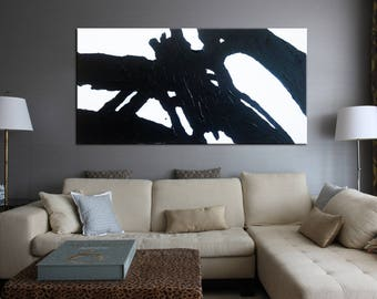 Abstract Painting, Black art, Black and white decor, Painting with palette knife, Wall art beautiful art, Textured Palette Knife, Painting