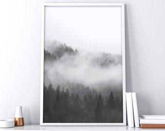 Printable Forest Art | Foggy Forest | Foggy Mountains | Fog Landscape Art | Extra Large Wall Art | Nordic Wall Decor | Scandinavian Print