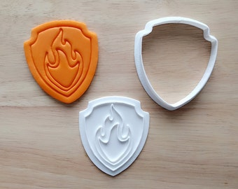 Marshall Paw Patrol Cookie Cutter and Stamp Set, Paw Patrol Fondant Cutter / Party Favor Kids Birthday Baby Shower Cake Top