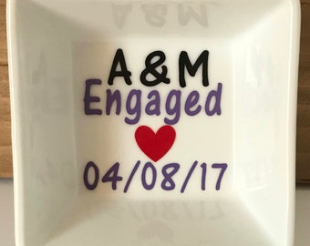 Personalized Initials Engaged Dated Ring Dish - Engagement Ring Dish- Wedding Ring Dish - Jewelry Holder- Your choice of many colors!