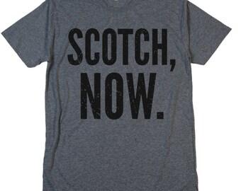 SCOTCH NOW T Shirt Whisky Neat On The Rocks Johnnie Walker Laphroaig Glenlivet Macallan Glenfiddich Scotland Day Drinking Crew V Neck Tee