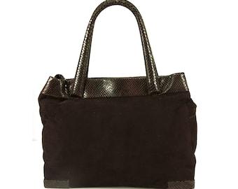 Max Mara Aubergine Purple Suede & Snake Skin Tote Shoulder Bag with long strap