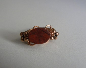 Oval Shaped Jasper wire wrapped copper