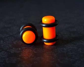 """Orange Acrylic Plugs (12G - 3/4"""")"""