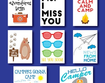 Set of 8 Personalized Camp Notes TO Your Camper - Postcards to Camp - Personalized Camp Postcards TOYour Camper - Summer Camp Stationery