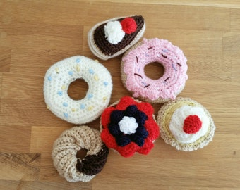 crochet play food set-cakes, donuts, sweets, fake food, play kitchen, baby gift, baby shower, toddler, education, fruits, soft toys