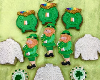 St Patricks Day Cookies~ Lepruchans, Pots Of gold, Four Leaf Clovers, Shamrocks, Blarney Wool Sweaters