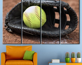 Baseball art room, Baseball wall decal, Baseball party decor, Baseball print set, Baseball decoration, Sport wall art, Canvas sports decor