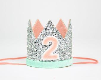Second Birthday Crown Headband | 2nd Birthday Hat of Glitter | Silver + Mint + Blush 2