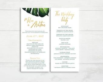 O9 | Printable Wedding Program | Tropical | Gold | Formal Wedding Program |