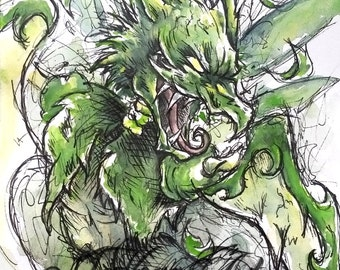 Original Watercolour & Ink Pokemon Scyther A6