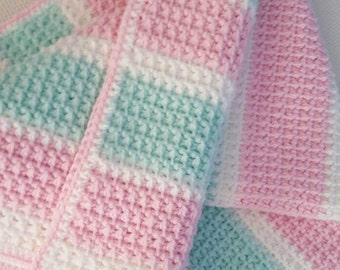 Pastel Crochet Baby Blanket in Pink, Mint Green and White