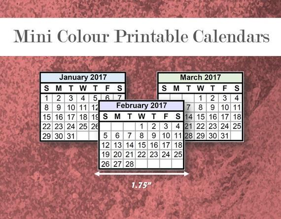 2017 & 2018 Color Mini Calendars Printable Template PDF
