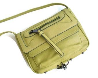 Vintage Crossbody Bag, 90s purse, Small bag, Green bag, green purse, Womens handbag, Studded bag, Lime green, Perfect condition