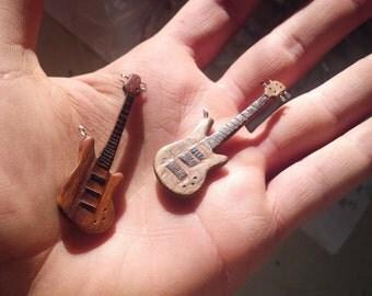 Wooden Bass Guitar Pendant