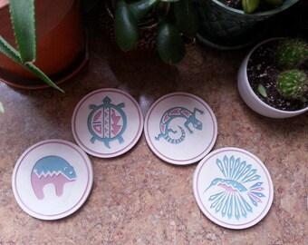 Vintage Southwestern Coasters ~ Native American Coasters Vintage Stoneware Coasters