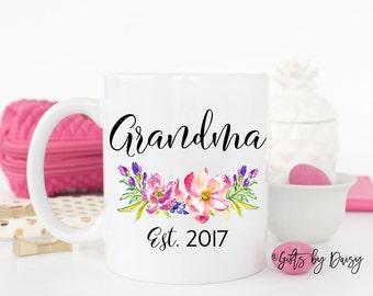 grandma mug, announcement mug, nana mug, abuela mug, established mug, grandma gift, gift for her, gift for grandma, baby shower gift, m-23