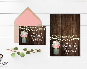 Mason Jar Rustic Thank You  Instant Download   Folded 3.5x5 Thank You   Print at home!   MJ_001W